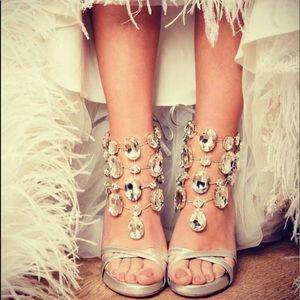 Francesco Sacco hi heel jeweled sandal